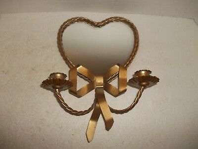 Vintage Gold Heart Mirror Double Candle Holder Bow Hollywood Regency Wall Decor