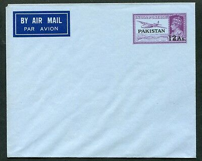 Pakistan 1948 Nasik opt. on India 12a/14a postal stationery air envelope P.9 un