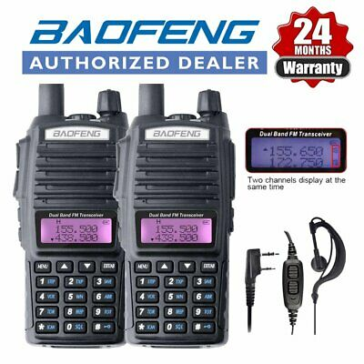 2x BAOFENG UV-82 Black VHF 5W 2 Way Walkie Talkie Radio long range set +Earpiece