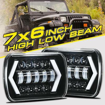 "2X 7X6"" 5X7"" 90W CREE LED Headlights Hi/Lo Beam Sealed DRL For Jeep Wrangler YJ"