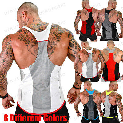Men Workout Bodybuilding Vest Sport Tank Top Gym Muscle Fitness Shirt Singlet