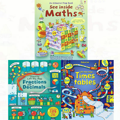Usborne Lift The Flap 3 Books Set Collection, Maths, Fractions And Decimals ...