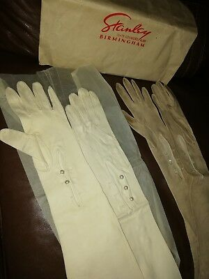 2Pairs Of Vintage French Opera/evening Kid Skin Leather Gloves Long 7 1/4& 6 1/4