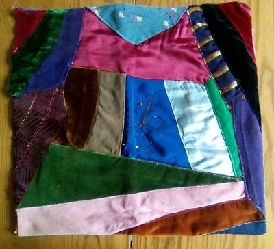 "Antique Vintage 14"" Multi-Color Patchwork Crazy Quilt Pillow Cover"