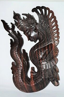 Beautiful Antique Oriental Carved Hardwood Buddha Wall Plaque