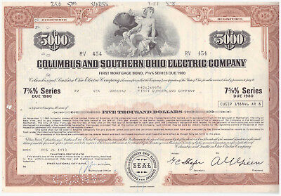 Aktie USA Stock Wertpapier Columbus and Southern Ohio Electric Company -- 1973