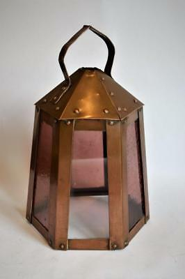 LOVELY ORIGINAL ANTIQUE ARTS & CRAFTS COPPER HALL PORCH HEXAGONAL LANTERN c.1900
