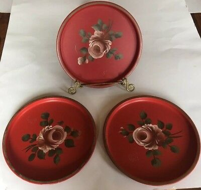 Vintage Hand Painted Metal Trays Red Pink Roses Antique Home Decor