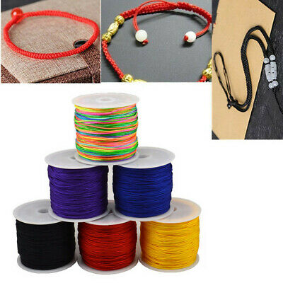 0.8mm Nylon Cord Thread Chinese Knot Macrame Rattail Bracelet Braided String DIY