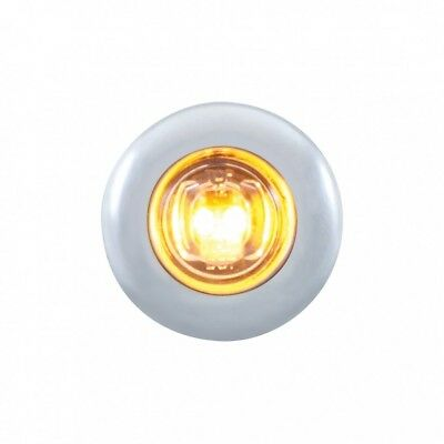 Amber Led Mini Clearance/marker Light With Stainless Steel Bezel - Clear Lens