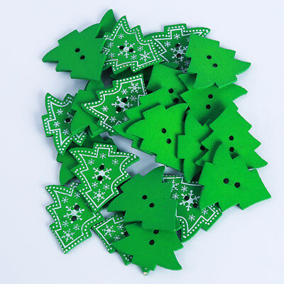 25Pcs Wooden Buttons Sewing Star Snowflake Tree Button Scrapbooking Party Decor