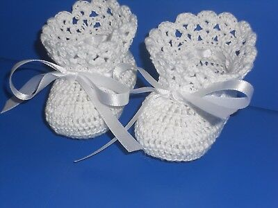 Crochet Baby Infant Girl Booties Shoes White
