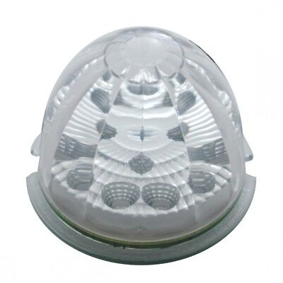 Round Reflector Cab Light W/ 17 Amber Led Watermelon Lens - Clear Lens