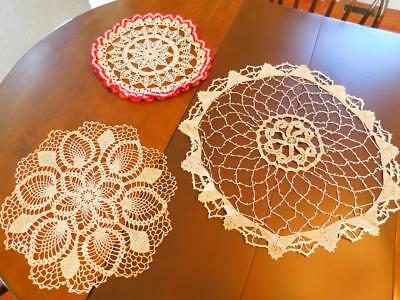 3 Vintage Hand Crocheted Lace DOILIES LOT Large Centerpiece Red Ruffle Pineapple