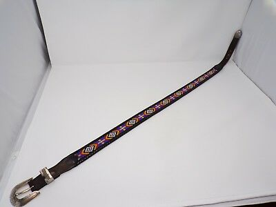 "Vintage 1991 Southwest beaded black laced leather 31 to 33-1/2"" belt western 290"