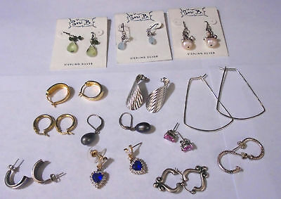 Lot Of 13 Assorted Sterling Silver Earrings. TESTED. (430)