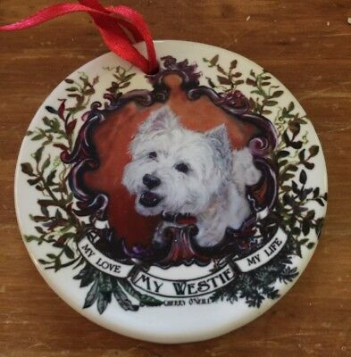My Love My Westie My Life West Highland Terrier Christmas Ornament