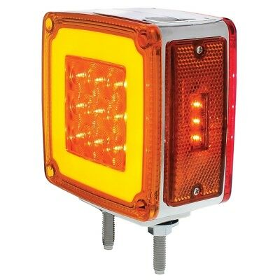 """8+3 Amber /28 Red Led Double Stud Square Double Face """"Glo"""" Signal Light - Driver"""