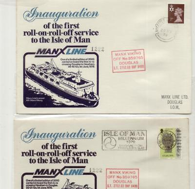 Isle of Man 1978 Inaugural Manx Line Crossing Pair of Covers