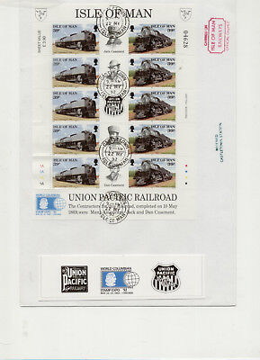 Isle of Man 1992 Pair of Union Pacific Sheetlet FDCs cancelled Castletown