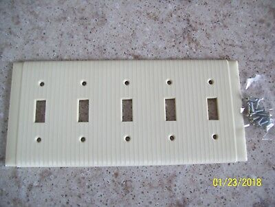 1 - 5 gang Vintage UNILINE Ribbed  Switch Plate Cover IVORY Bakelite Deco