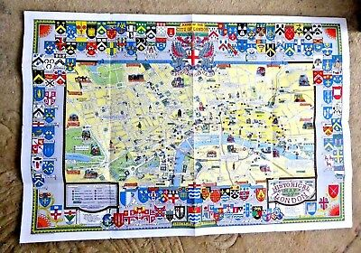 Vintage  Cartoon Map Of Historical Map Of London By Bartholomews Coat Of Arms