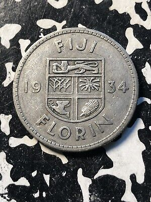 1934 Fiji 1 Florin (19 Available) Circulated (1 Coin Only) Silver! Low Mintage