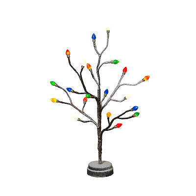 Mini Textured Tree With Colored Bulb Caps Decor Indoor Warm White LED Lights