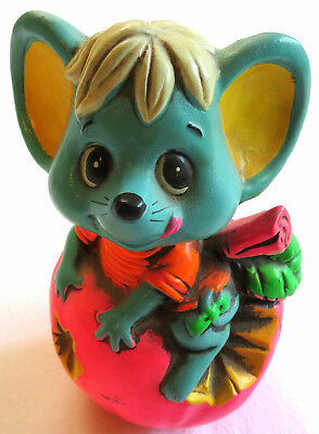 CHALKWARE BANK Vintage 60's Mouse APPLE Coin HOLIDAY FAIR Psychedelic Mod Kitsch