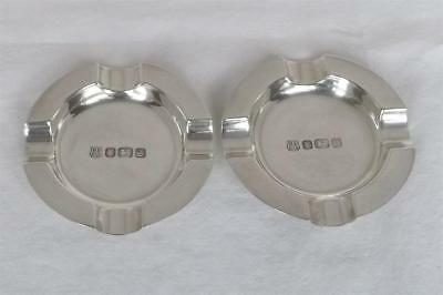 A Superb Vintage Pair Of Solid Sterling Silver Ashtrays Sheffield 1978.