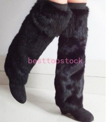 Real Rabbit Fur Leg Warmers Womens Winter Leggings Boot Toppers 40cm -60cm sz