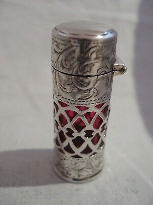 Cylindrical Scent Bottle Pierced Sterling Silver Birmingham 1910