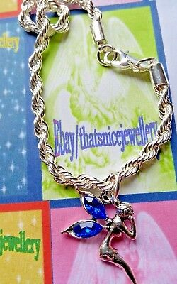 Child's Gift Silver Chain Bracelet + Black/ Blue/ Pink/Clear Wings Fairy Charm