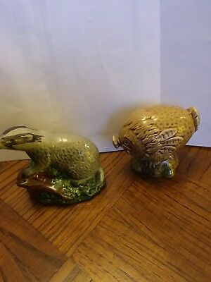 Two Vintage Empty Beswick Beneagles Scotch Whisky Decanters Badger And Haggis