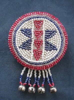 Vintage Native American Beaded Pin w/Cut Glass Beads & Tiny Bells, 2 5/8""