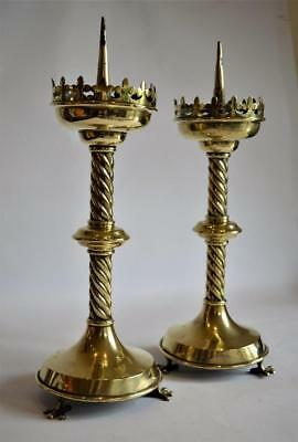 GOOD PAIR of ANTIQUE PUGIN STYLE GOTHIC REVIVAL CHURCH ALTAR BRASS CANDLESTICKS