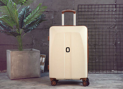 A44 Beige Universal Wheel Coded Lock Travel Suitcase Luggage 24 Inches W