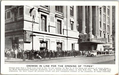 Vintage Postcard Crowds In Line For The Opening Of Tipex