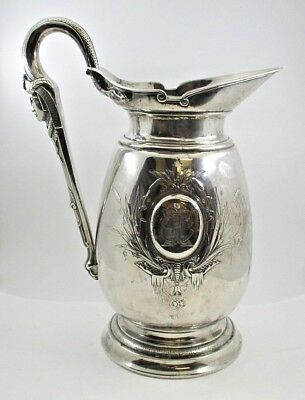 Antique 1860-1870 Ball Black & Co Sterling Silver Egyptian Revival Water Pitcher