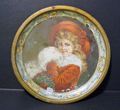 Antique C D Kenny Coffee & Spice Christmas Girl With Muff Tin Tray**as Is**wow!!
