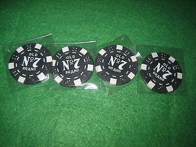 *************FOUR JACK DANIELS OLD No.7 POKER CHIPS  /  BALL MARKERS ***********