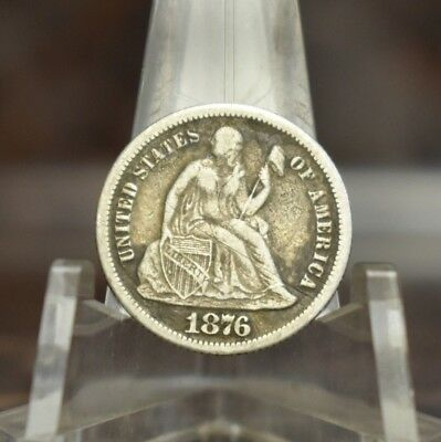 1876-CC Seated Liberty Dime Extra Fine Circulated 1876 CC XF 10C US Silver Coin