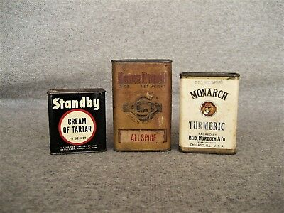 Antique Vintage Metal Paper Spice Tins Home Brand Monarch Standby Lot Of 3