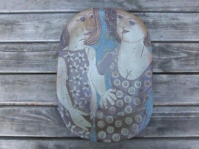 VTG CCL ceramic wall hanging relief plate dish art Pottery Platter Studio