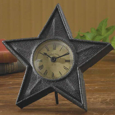 Black Star Table Top Clock by Park Designs Primitive Country Home Decor