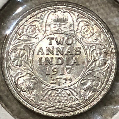 1917 India George V King Emperor Two Annas Silver Coin