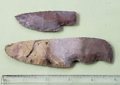 Pair of  Handcrafted Knapped STONE KNIFE BLADES