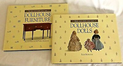 2 Books: Design & Make Dollhouse Furniture and Make & Clothe Dollhouse Dolls