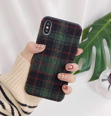 Green Plaid Silicone Case Cover for iPhone XSMax XR X XS 8 7 6 Plus Shockproof
