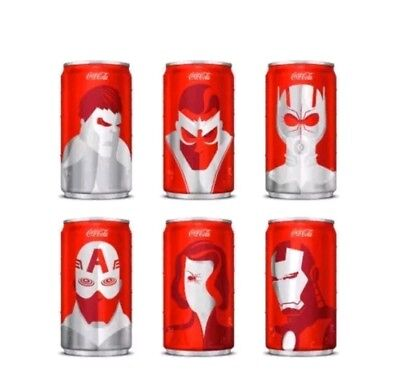 NEW - Marvel Avengers Mini Coca-Cola Can Set of 6 Unopened in Box!